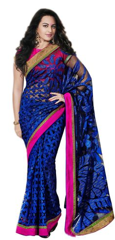 YSK Sonakshi Sinha Blue Ceremonial Saree Silk Embroidery Border Sari