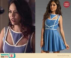 Mona's blue cutout dress with white trim on Pretty Little Liars. Outfit Details: https://wornontv.net/24857/ #PLL