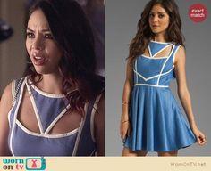 Mona's blue cutout dress with white trim on Pretty Little Liars. Outfit Details: http://wornontv.net/24857 #PLL #fashion