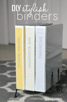 If you`ve ever strolled through the paper goods aisle of Target or Staples, you know how expensive pretty patterned binders can be! Dress up a plain and simple 3-ring notebook with scrapbook paper to match your decor, and finally tackle that paper clutter with style!