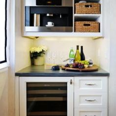 Tiny butler's pantry with coffee bar