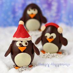 Chocolate Penguin Truffles with White Chocolate Amaretto Raisin Ganache
