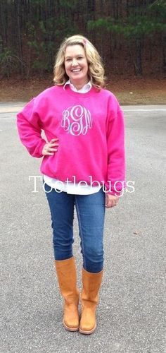Monogram  http://www.etsy.com/listing/167190400/preppy-boutique-monogram-monogrammed?ref=cat_gallery_15#zoom  I like this color or maybe navy shirt with red lettering. M Gloves-hot pink (s-m) I have small hands