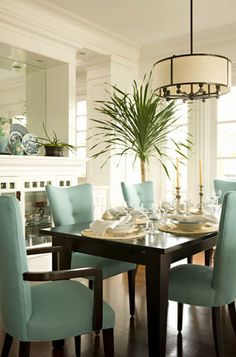 House of Turquoise: Bonesteel Trout designs interior design kitchen design room design House Of Turquoise, Dining Room Design, Dining Rooms, Dining Chairs, Dining Area, Room Chairs, Dining Table, Kitchen Designs, Dining Room Lighting
