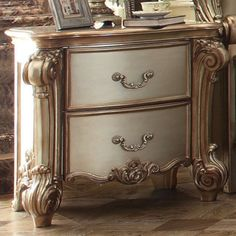 The Acme Furniture Vendome 2 Drawer Nightstand brings antique charm to your home. Two drawers offer ample storage for household items. Painting Wooden Furniture, Painted Bedroom Furniture, Acme Furniture, Repurposed Furniture, Shabby Chic Furniture, Furniture Makeover, Furniture Decor, Antique Furniture, Modern Furniture