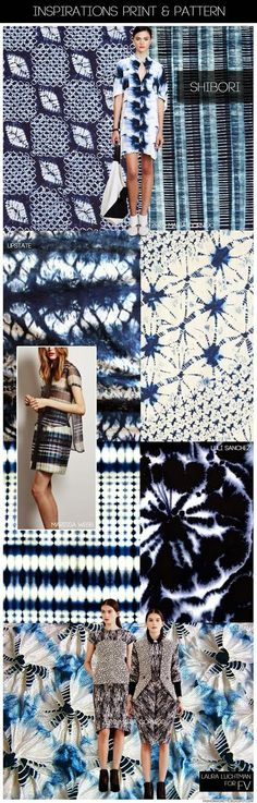 KUKKA by Laura Luchtman - SS 2015 SHIBORI - added by Giada: : in summer 2016 Shibori will be BIG - focus on blu & white ,indigo , but also yellow and Orange on white Ss15 Trends, Trends 2016, 2015 Fashion Trends, 2015 Color Trends, Mode Wax, Winter Typ, Shibori Tie Dye, Fashion Forecasting, Fashion Prints