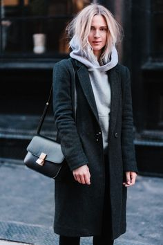 Cool Fashion fashion jeans Celine box bag, Aritzia coat, Citizens of Humanity jeans and Saint Laurent boots...
