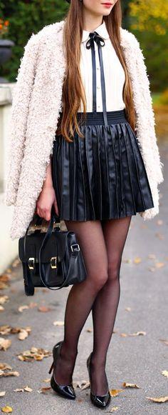 Black Accordion Pleat Mini Skirt