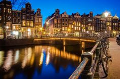 Canalview at sunset in Amsterdam...