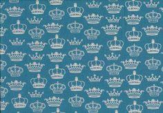Makower London fabric - Crowns Blue  £9.99/m