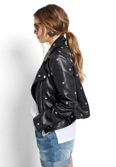 Model wears our black leather jacket with metal star shaped studs in a relaxed style Fashion Shoes, Fashion Accessories, Metal Stars, Laid Back Style, Star Shape, Quebec, Lounge Wear, Studs, Women Wear