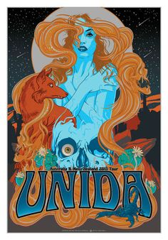 Original silkscreen concert poster for the Unida Australia and New Zealand Tour in 17 x 25 inches on Foil paper. Numbered out of 500 by the artist Vance Kelly. Rock Posters, Band Posters, Concert Posters, Music Posters, Stoner Rock, Stoner Art, Musik Illustration, Character Illustration, Blade Runner