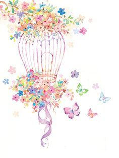 Liz Yee - Bird Cage With Flower