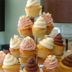 A cupcake wedding tier ready to go out for a wedding party, by Cupcake in South Carolina