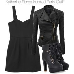 The vampire diaries - katherine pierce inspired outfit 세련된 의상, 학교 스타일, 메이크업 Vampire Diaries Outfits, Stylish Outfits, Fashion Outfits, Womens Fashion, Katherine Pierce Outfits, Mode Rock, Nina Dobrev, Mode Blog, Halloween Disfraces
