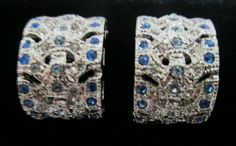 Jackie Kennedy Silver Paved Clip on Earrings with blue simulated crystals JBK