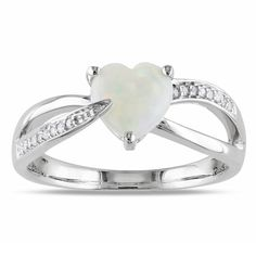 Miadora Sterling Silver Opal and Diamond Heart Ring (H-I, I2-I3) (Size 8.5), Women's, White