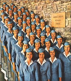1950sunlimited:    American Airlines Stewardess College Graduates 1960  detail from American Airlines advertisement