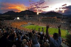 CU Buffs - University of Colorado Boulder Folsom Field Game Time Stadium Sunset LOVE