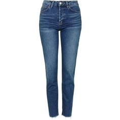 TopShop Moto Raw Hem Straight Leg Jeans (110 CAD) ❤ liked on Polyvore featuring jeans, pants, calça, blue jeans, low jeans, cropped jeans, tapered leg jeans and topshop jeans