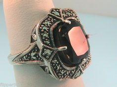 Vintage Sterling Silver Brown Quartz & Marcasite Ring   $35.00     http://www.ebay.com/itm/330792042009?