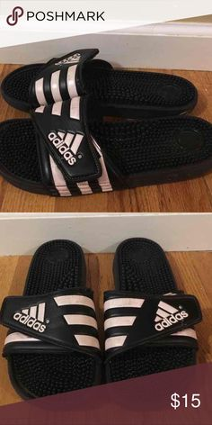 Adidas rubber slip on sandals women size 9 Light pink and black adidas rubber slip on sandals. Very comfortable, in good condition! I have another pair so I am just looking to get rid of! Size women's 9 Adidas Shoes Sandals