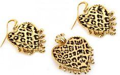 """Exkluzívna zlatá súprava náušnice a prívesok """"hearts of leopard"""""""