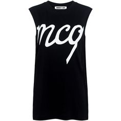 Mcq Alexander Mcqueen - Boyfriend Tank Top (435 BRL) ❤ liked on Polyvore featuring tops, logo top, cotton tank tops, drop armhole tank, muscle t shirts and patterned tops
