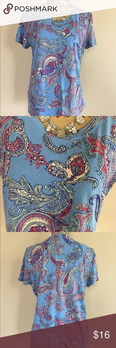 """Talbots light blue paisley print tee Basic soft tee from Talbots taken up a notch with splashes of red, taupe, and navy paisley on a pale blue backdrop. Short sleeve, crew neck. Size XL. Excellent condition. 60% cotton 40% modal. Bust measures 21"""", length 24"""". Talbots Tops Tees - Short Sleeve"""