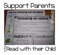 Parent Support for Reading At Home reading strategies (freebie) Parent Teacher Communication, Parent Teacher Conferences, Parent Notes, Letter To Parents, Parents As Teachers, Parent Letters, Kindergarten Reading, Teaching Reading, Guided Reading