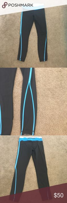 "Lululemon Black and Blue Leggings Cute Lululemon Leggings! They feel like a Spandex material! No flaws, like new condition. Inseam is about 26 inches, I'm tall (5""10) and they fit like a 7/8 length. Pocket in back of waistband and 2 pockets in waistband. lululemon athletica Pants Leggings"