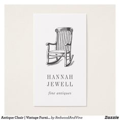 Antique Chair | Vintage Furniture Custom Check out more business card designs at http://www.zazzle.com/business_creations or at http://www.zazzle.com/businesscardscards