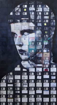 CONNECTION  2012  Oil and used computer disks on wood  131cm x 72cm  At SCOPE art fair with Robert Fontaine gallery