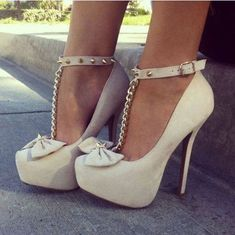 New Arrival Elegant Wthie Glaring Bowtie Ankle Strap Women High Heel Shoes #WomenHighHeelsShoes