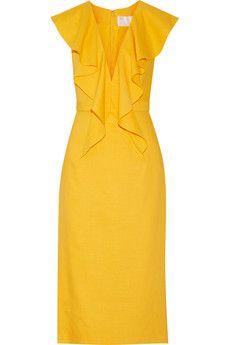 Cushnie et Ochs Draped linen-blend dress | THE OUTNET