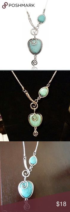 Pretty Silver Turquoise Necklace NWT This necklace is so pretty. I bought one for myself and selling this one 💕 Jewelry Necklaces