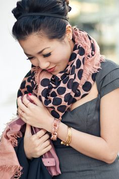 Accessorizing with Scarves - love the patterned dots