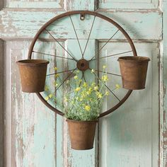 Rustic Bicycle Wheel Wall Planter - All About Garden Crafts, Garden Projects, Rustic Decor, Farmhouse Decor, Country Decor, Country Farmhouse, Bicycle Decor, Bicycle Crafts, Metal Planters