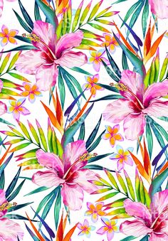 beautiful seamless pattern with hibiscus, frangipani and palm leaves. royalty-free stock illustration