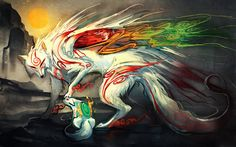 This HD wallpaper is about anime, Okami, Original wallpaper dimensions is file size is Japanese Mythical Creatures, Fantasy Creatures, Thomas Astruc, Wolf Artwork, Fantasy Artwork, Manga, Japan Games, Amaterasu, Monsters