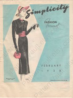 Simplicity Fashion Forecast, February 1938 featuring Simplicity 2681