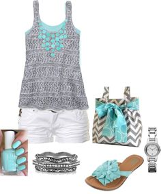 """Aqua and Gray"" by dmac30 ❤ liked on Polyvore Polyvore Clothes Outift for • teens • movies • girls • women •. summer • fall • spring • winter • outfit ideas • dates • parties Polyvore :) Catalina Christiano"