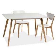 Mérete: magassága hosszúsága szélessége MDF, tölgyfaSzínek: fehér-tölgy A termék összeszerelést igényel Dining Furniture, Dining Chairs, Scandinavian Furniture, Malm, Home Decor, Google, Products, Home, High Dining Table Set