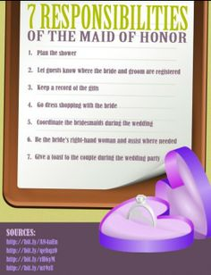 7 Responsibilities of the Maid of Honor.