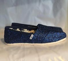 Women s Sparkly Glitter Toms shoes Midnight Navy Blue Wedding bride - Glitter  Shoe Co  GlitterShoes 25d5f73d5fb4