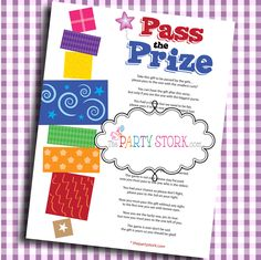 Pass the Prize Fun Baby Shower Game: More Fun Printable Games Available