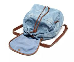 School Backpacks, Backpack Straps, Drawstring Backpack, Bags For Teens, Moda Casual, Light Blue Jeans, Denim Bag, School Bags, Patch Jeans