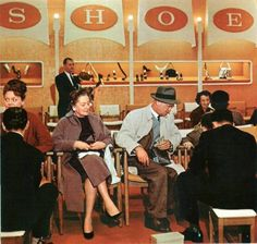 Shoe Department at Montgomery Wards, 1950s - ooh this is the vintage version of my job!