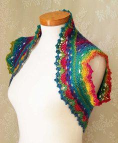 Rainbow crochet shrug/vest by BernioliesDesigns