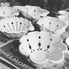 I'm having my typical glaze day paralysis...it's time to glaze lots of new work and I don't know where to start. Gonna clean up the garagio and get started on these new berry bowls first. #workinprogress #wip #handmadewithlove #ceramics #pottery #makersmovement #berrybowl #berries #etsymudteam #lovemyjob